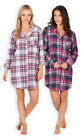 Ladies Check Nightshirt New Womens Long Sleeved Nightdress PJ Shirt UK 8 - 22