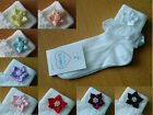 L@@K! Cute Girls Frilly Occasion Socks! Star Flower Detail Various Colours & Sz