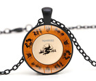 Halloween Flying Witch Cat Owl Cabochon Black Glass Pendant Necklace Jewelry#251