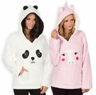 Ladies Hoodie New Womens Novelty Unicorn Panda Fleece Lounge Top UK 8 - 22