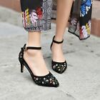 Hot Womens Hollow Out Ankle Strap Pointy Toe Embroidered Flower Mid Heel Shoes