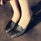 Handmade Womens Flat Heels Square Toe Leather Oxford Shoes Ballet Shoes Slip on