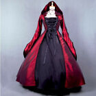 Medieval Queen Witch Hooded Long Dress Women Halloween Party Cosplay Fancy Dress