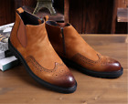 2017 Spring Mens Retro Ankle Boots Carved Brogue Shoes Real Leather Shoes Size
