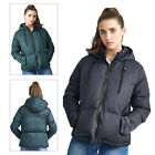 Brave Soul Ladies Cello Designer Quilted Padded Zip Up Hooded Funnel Neck Jacket