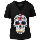 vintage locket clothing - Women's Fifty5 Clothing Locket Sugar Skull Vintage T-Shirt Black Day of the Dead