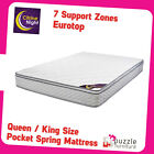 Queen King Mattress Eurotop with Pocket Spring 7 Zones Firm and Supportive