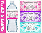 SWEET 16 SIXTEEN BIRTHDAY PARTY FAVORS WATER BOTTLE LABELS ~ PERSONALIZED