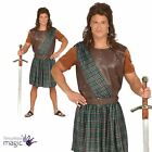 Mens Burns Night Scottish Highland Warrior Brave Tartan Kilt Fancy Dress Costume