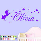 Wall Art Sticker - Personalised Name Unicorn Stars Girls Bedroom Childrens Vinyl