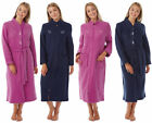 Ladies Womens Traditional Fleece Dressing Gown Housecoat Zip Tie Waist Oriental