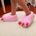 Unisex Demon Monster Claw Paw Fur Plush Warm Slippers Christmas Halloween Shoes