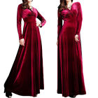 2017 Plus Womens Sexy Velvet Ballgown Slim Party Dress Full Length Robe Clubwear