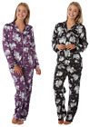 Ladies Satin Silky Pyjamas Black White FLORAL Lounge Buttoned black Purple Rose