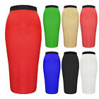 Womens Block Colour Pencil Skirt Black Red White Green Navy Brand New Size 8-14
