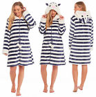 Ladies Womens Fleece Dressing Gown Hooded Zipped Navy Blue Striped Novelty Robe