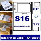 A4 INTEGRATED LABEL INVOICE PAPER ADDRESS SHEETS S16 ROYAL MAIL EBAY AMAZON