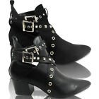 NEW WOMENS LOW HEEL CUBAN BUCKLE POINTED TOE STUDDED ANKLE BOOTS STRAP SIZE ROCK