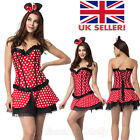 Hot Ladies Minnie Mouse Spots Dot Costume Mickey Fancy Dress Outfit Party Corset