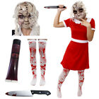 LADIES SCARY DOLL COSTUME BROKEN CHINA RAG DOLL HALLOWEEN ADULT FANCY DRESS MASK