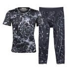 Mens Compression Shirt 3/4 Pants Running Tights Fitness Sportswear Base Layers