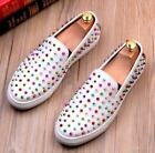 Mens Low Top Leather Slip On Loafers Casual Rivet Leisure Creeper Sneaker Tennis