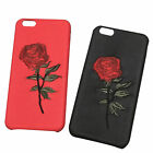 Women Leather Embroidery Rose Flower Phone Case Cover For iPhone 6 6s 7 7 Plus