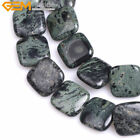 20mm Natural Square Dark Blue Kambaba Jasper Stone Beads Jewelry Making 15''