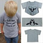 Ask Me About My Moo Cow Letter Toddler Kids Tee Tops Clothes Cute Children Funny