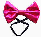 NEW HOT PINK Metallic Bow Tie Fabric Unisex Mens Womens Costume Party BULK BUY