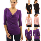 Womens Cowl Neck 3/4 Sleeve Blouse Ladies Club Party Tops Lovely Shirts