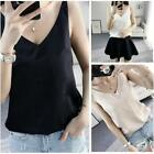 Ladies Satin Silk Cami Strappy T-shirt V Neck Sleeveless Top Tee Vest Tank LD