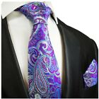 Purple and Blue Hand Made Paisley Silk Tie and Pocket Square by Paul Malone