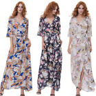 Ladies Women V Neck 3/4 Sleeve High Waist Vintage Print Maxi Long Holiday Dress