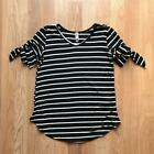 Kids' Black and White Striped Top with Tie Sleeve