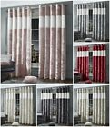 Luxury Diamante Crushed Velvet Curtain Pair Ring Top Lined Eyelet Cream Silver