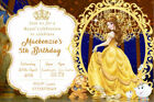 Personalised Princess Belle Chip Mrs Potts Birthday Party Invites + envs V13