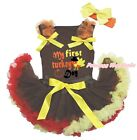 My First Turkey Day Brown Cotton Top Brown Red Yellow Baby Skirt Outfit 3-12M