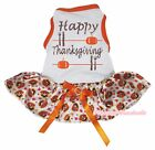 Happy Thanksgiving White Cotton Top Orange Turkey Tutu Pet Dog Puppy Dress