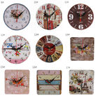 Table Clock Animal Printed Wooden Wall Clock Rustic Shabby Style Home Rome Decor