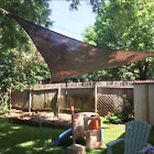 Brown Sun Shade Sail Permeable Equilateral Triangle Canopy Patio UV Awning KIT 8
