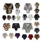 US Women Faux Fur Long Shawl Elegant Bridal Wedding Stole Wrap Shrug Scarf Tops