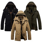 Military Parka Outerwear Mens Winter Jacket Warm Fur lined Long Coat Hooded Plus