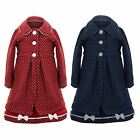 Girls Formal Smart Lined Childrens Tweed Bow Polka Dot Coat Dress Matching Set