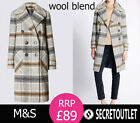 New M&S COLLECTION Collared Neck Check Overcoat with Wool size 10 - 26