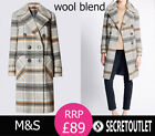 New Ladies M&S Collared Neck Winter Warm Check Coat with Wool Plus size 10 - 26