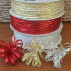 Iridescent 3mm Pull Bow ribbon, sold per 4 metres silver, gold or red