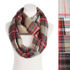 Premium Winter Soft Knit Plaid Checked Blanket Infinity Loop Circle Scarf Wrap