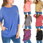 Women Long Sleeve T-shirt Everyday Blouse Pullover Crewneck Loose Solid Tops ILC