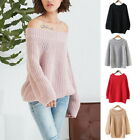 Women O-Neck Off Shlouder Lantern Sleeve Knitted Pullover Solid Sweater Tops New